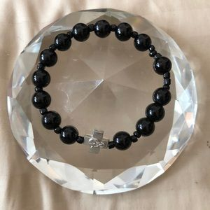Black rosary stretch bracelet